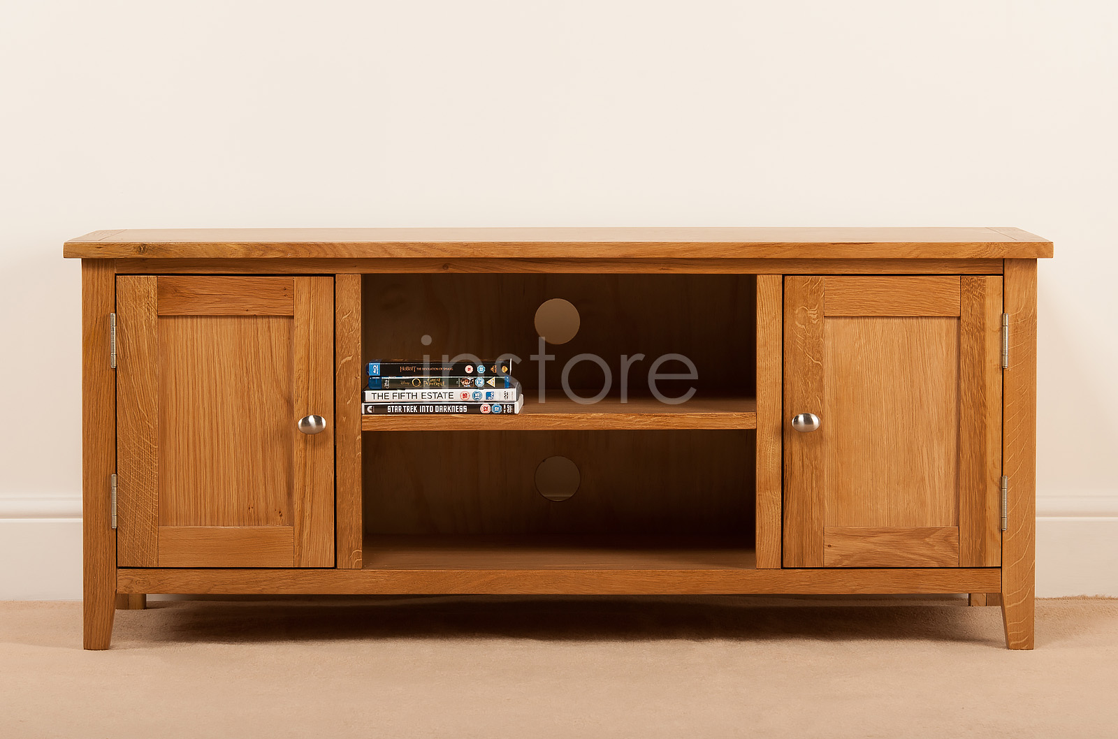 Rutland oak large tv stand